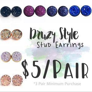 $5/Pair Druzy Style Stud Earrings